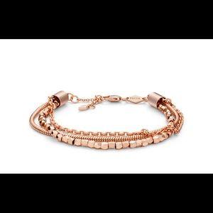 Multi Chain Fossil Rose Gold Tone Bracelet & Box